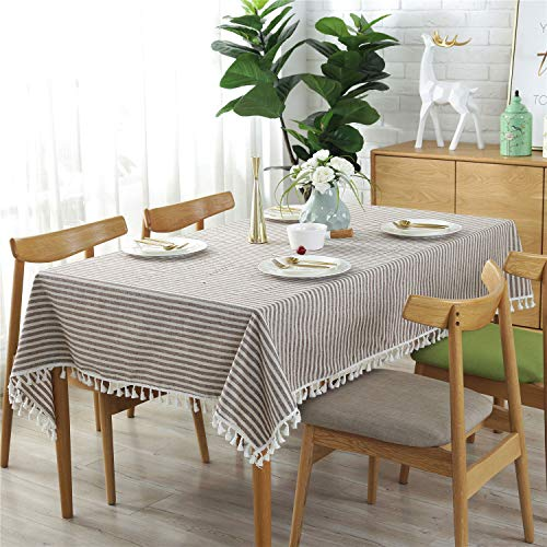 HPX HOME Natural Stripe Pattern Tassel Rectangular Tablecloth Cotton Linen Stain Resistant Dust-Proof Table Cover for Dining Room, Kitchen, Rural Small Home and Valentine Tabletop Decoration