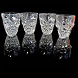 SHATCHI Set Of 4 Halloween Clear Shot Glasses with Spooky 3D Skull Shape Party Tableware Drink Accessories, Transparent