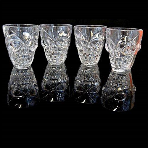 SHATCHI Juego de 4 vasos de chupito transparentes para Halloween, con forma de calavera 3D, accesorios de bebida, transparente