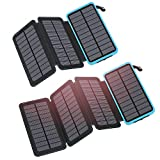 FEELLE Solar Charger 25000mAh Bundle with Solar Charger 24000mAh-Blue