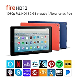 top 10 compare kindle tablets Fire HD 10 tablet, Alexa speakerphone, 10.1 inch 1080p full HD display, 64 GB, red (rear …