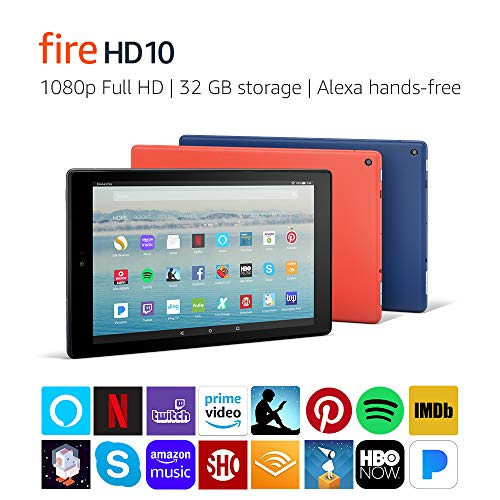 "Fire HD 10 Tablet with Alexa Hands-Free, 10.1"" 1080p Full HD Display, 32 GB, Black - with Special Offers"