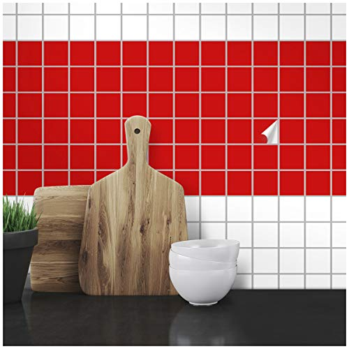 Wandkings Fliesenaufkleber - Wähle eine Farbe & Größe - Rot Seidenmatt - 7 x 7 cm - 20 Stück für Fliesen in Küche, Bad & mehr