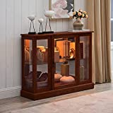 GOOD & GRACIOUS Lighted Glass Curio Cabinet with Mirrored Back for Private Collectibles Display Console Cabinet with Adjustable Shelf 38.25' W, Walnut