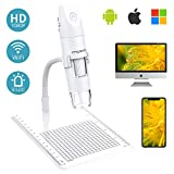 MoKo WiFi USB Microscopio Digital, 1080P HD 2MP Camera, 1000x Aumento Mini Bolsillo Niños estudiante Endoscopio Inalámbrico de Mano con 8 LED, Soporte de Brazo para iPhone ios Android ipad Windows Mac
