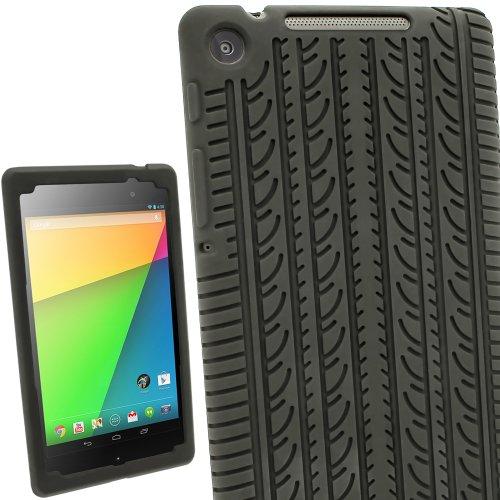 igadgitz U2612 Silikon Skin mit Reifenprofil Kompatibel mit Asus Google Nexus 7 2013 2.Gen Tablet 16GB 32GB + Displayschutzfolie (Nicht geeignet für 1. Gen) - Schwarz