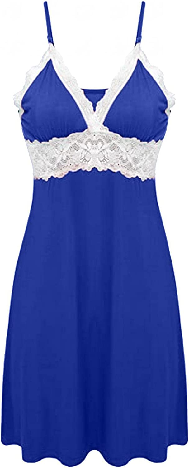 JTWMY Lingerie for Women Sexy Nightdress Adjustable Shoulder Strap Lace Comfy Solid Color Pajamas Sleepwear