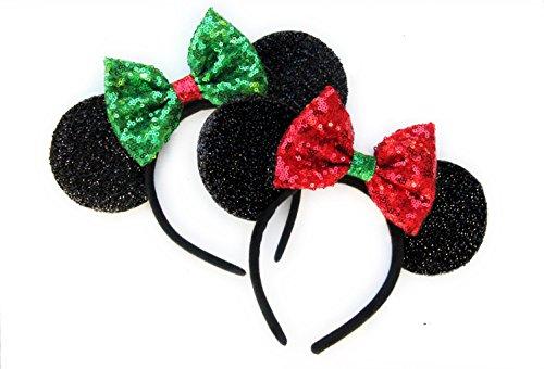 CLGIFT Two x Christmas Mickey Ears, Christmas Minnie Ears, Christmas,Holiday Ears Rainbow