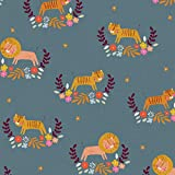 Dashwood Safari Stoff – DASH278 Löwen Tigers Blaugrün
