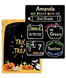 First Day of School Board, Halloween, 12″x8.5″ PVC Plastic Chalkboard Style Photo Prop Sign (Double Sided), Wet Erase, Flexible and Reusable, 1st Day of School Sign, Back to School Sign