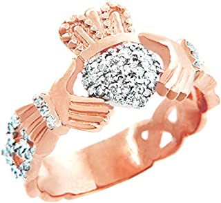 18k Rose Gold Diamond Pave Claddagh Promise Ring for Women