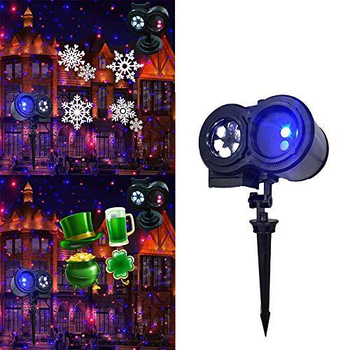 KYL 2-en-1 LED de Navidad las luces del proyector impermeable de proyección de la ola oceánica de luz 12 Diapositivas exteriores de decoración interior de iluminación for Navidad Fiesta de Navidad de
