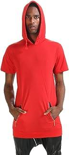 PIZOFF Mens Solid Short Sleeve Front Zip Pockets Back Zip Up Design Cotton Dance Sport Hoodie T-Shirt P3245-Red-M-BBB