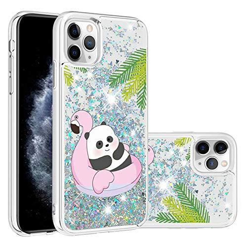 Miagon Flüssig Hülle für iPhone 11 Pro,Glitzer Treibsand Handyhülle Glitter Quicksand Schutzhülle Bumper Case Cover,Panda