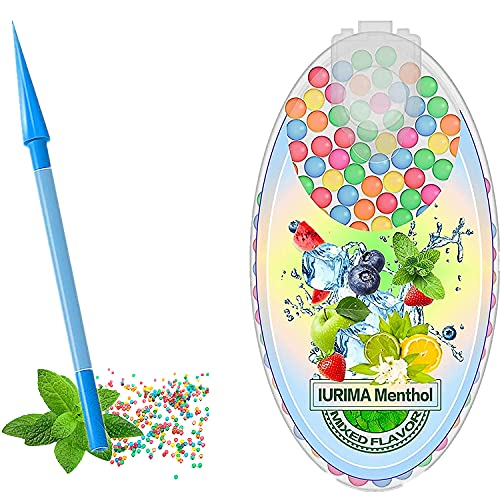 Bola de trituración de cigarrillos de menta, 100 piezas de mini menta portátil, cápsulas de menta, cuentas explosivas esféricas DIY 100 piezas, una variedad de bolas de sabor disponibles