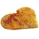 POHOVE Alfombra de piel de oveja sintética con forma de corazón, alfombra de piel de oveja sintética F ur felpa...