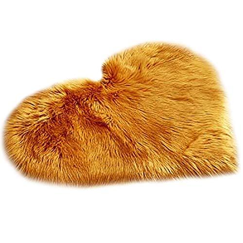 POHOVE Alfombra de piel de oveja sintética con forma de corazón, alfombra de piel de oveja sintética F ur felpa mullida suave alfombra para niños para dormitorio, sala de estar, 50 x 40 cm