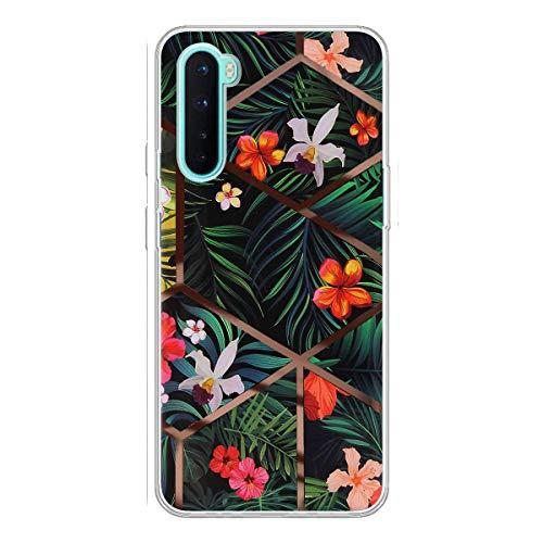 Carcasa para OnePlus Nord funda de teléfono móvil ultrafina de silicona suave transparente TPU Bumper resistente a los arañazos – Marble flor