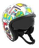 KEN ROD Origine Sprint | Casco Moto Origine | Casco para Moto | Jet Casco Sprint | Casco de Motocicleta Abierto | Casco Jet Abierto | Multicolor | Talla L