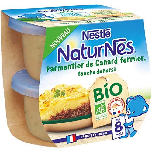 Nestlé Naturnes Bio Petits pots bébé Parmentier de Canard, touche de persil  Dès 8 mois 2x190g
