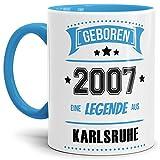 Tassendruck Geburtstags-Tasse Geboren 2007 Eine Legende aus Karlsruhe Innen und Henkel Hellblau/Geschenk/mit Spruch/Mug/Cup/Becher/Qualität Made in Germany