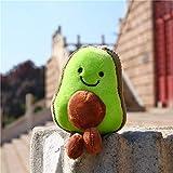 Cute Key Chain,Kawaii Avocado Plush Keychains,Stuffed Toy Key Ring,Car Keyring,Lovely Smiling Face Plush Avocado Pendant for Bag Backpack