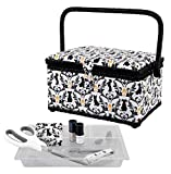 SINGER Sewing Basket with Sewing Kit, Needles, Thread, Scissors, and Notions- White
