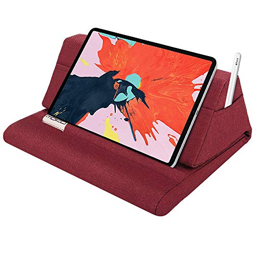 """MoKo Tablet Pillow Stand, Soft Bed Pillow Holder, Fits up to 11"""" Pad, Fit with iPad 10.2"""" 2019, New iPad Air 3 2, iPad Pro 11 2020/10.5/9.7, Mini 5 4 3, Samsung Galaxy Tab, Red Wine"""