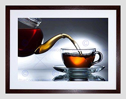 Wee Blauw Coo Theepot Beker Thee Drink Voedsel Keuken Art Foto Ingelijst Muur Art Print