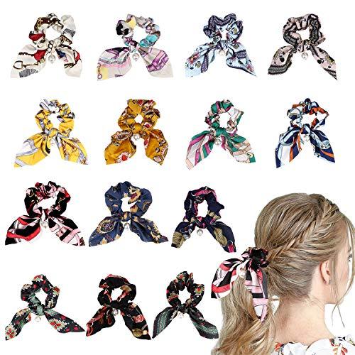URAQT 14 psc Colorido Bowknot Floral Hair Scrunchy Hair Ties, Ribbon Hair Ties Bow Bandas elásticas para el cabello Soporte de cola de caballo con lunares, Cuerda de accesorios para mujeres