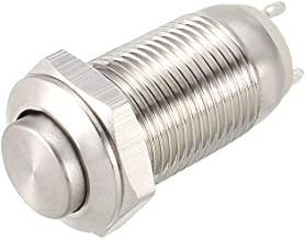 uxcell Momentary Metal Push Button Switch 10mm Mounting Dia 1NO 250V 5A