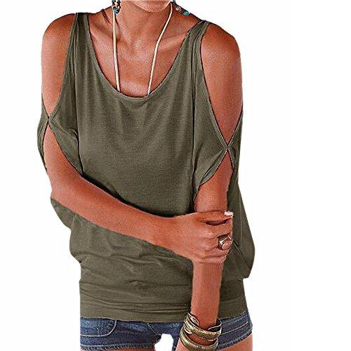iMixCity Verano Camisas De Hombro Frío Blusas Tops del Batwing Camisetas sin Mangas Camiseta Casual Camiseta para Mujer (L, Verde)