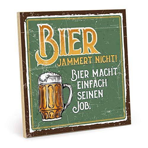 JEFFERS houten bord met spreuk - Bier JAMMERT Nicht - in vintage look met citaat als geschenk en decoratie (grootte: 19, 5 x 19, 5 cm)