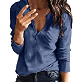 Women's V Neck Zipper Shirts Casual Waffle Knit Tunic Tops Loose Fitting Thermal Long Sleeve Henley Shirts Blouses