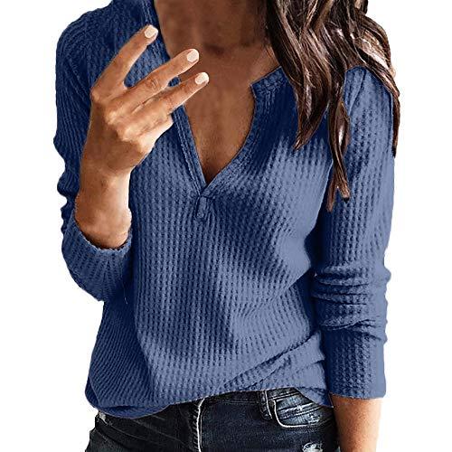 Weant Bluse Damen Sommer Langarm T-Shirt Knit V-Neck Einfarbig Oberteile Basic Tops Langarmshirt Shirts Oberteil Sexy Elegant Sommer Bluse Tops Tunika T-Shirt Baumwollshirt