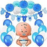 Jonami Decorazioni Festa Nascita Bambino. Festone é Maschio It's A Boy+1 Palloncino Blu a Bimbo,Neonato,Maschietto +8 Pompoms +12 Palloncini. Accessori Battesimo e Baby Shower