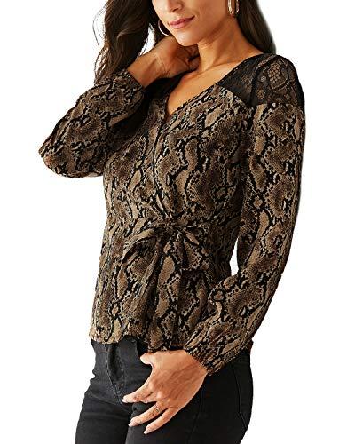 YOINS - Blusa de manga larga con estampado de leopardo, con cuello en V, para mujer