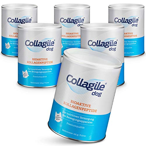 Collagile Dog Hunde Ergänzungsfutter für Knochen und Bänder Bioaktive Kollagenpeptide in Lebensmittelqualität (6 x 225g)