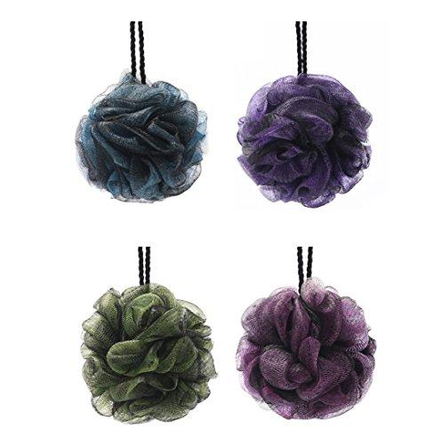 KFZR Paquete de 4 grandes exfoliantes cuerpo de baño de ducha Esponja Puff para hombres y mujeres Verde Azul Rosa Púrpura doble capa Negro capa externa