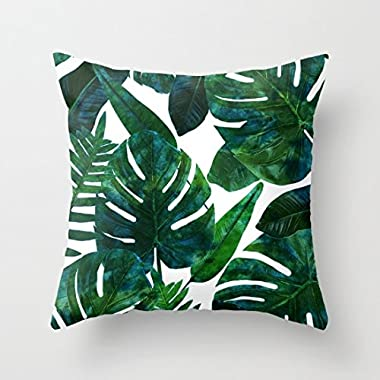 Banana Leaves Throw Pillow Covers Decorative 18 x 18 Home Decor Pillow Case Polyester Cushion Covers for Sofa