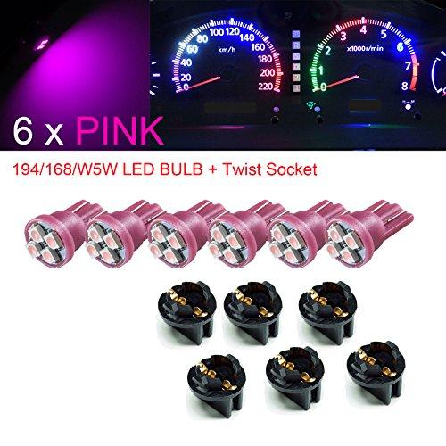 PA 6 x T10 168 194 LED Tableau de bord Dash ampoule Douille 1/5,1 cm Twist Lock -12 V