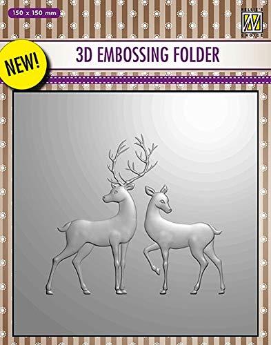 Nellie's Choice Embossingschablone - 3D Embossing Folders Reindeer 150x150mm