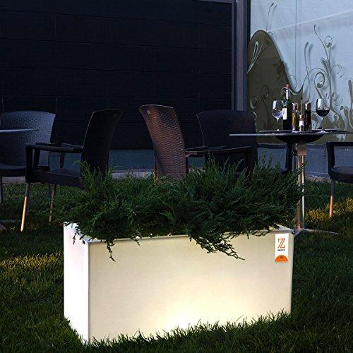 Purline Fioriera da Pavimento da 40x 80cm, colore: bianco con luce e ruote irrigazione Jar L 80ne