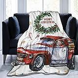 Throw Blanket Buon Natale Capodanno Festival Natale Babbo Natale in Macchina E Buon Natale nella Corona Dell'Avvento Regalo Ultra Confortevole Coperta da Tiro Stampa Campeggio per