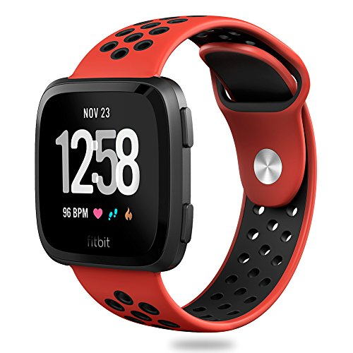Hagibis Compatible Fitbit Versa Bands Sport Silicone Replacement Breathable Strap Bands New Fitbit Versa Smart Fitness Watch (Red&Black)