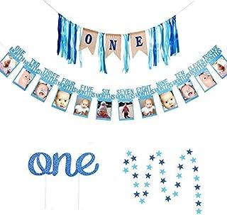 1st Birthday Boy Banner, GoodYH Baby Boy First Birthday Decorations High Chair Banner - Happy Birthday ONE Burlap Banner, First Birthday Photo Banner, Glitter Cake Topper, Blue Star Hanging Banner