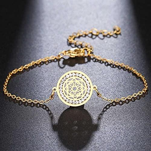 DOOLY Acero Inoxidable para Mujeres Pulsera de Cristal Hueco patrón Cuadrado geometría Exquisito Encanto Pulseras Nueva joyería Regalo
