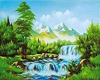 大人と子供のためのデジタルキットによる DIY 油絵の具アート工芸家の壁の装飾雪山の森の風景 40 × 50 センチメートル