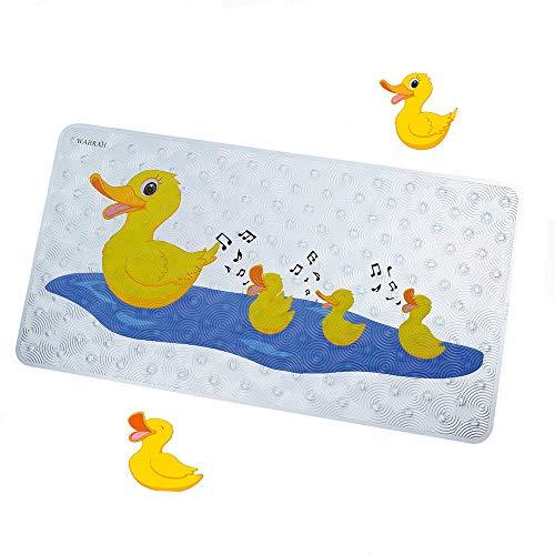 Badewannenmatte Ente Wanneneinlage Rutschfeste für Kinder und Baby Antirutschmatte Badewanne mit Saugnäpfen Natura BPA frei Karikatur Duschmatte,Maschinenwaschbar,70 x 40 cm Duck(FHD-07)