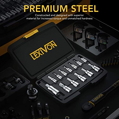 LEXIVON HEX Bit Socket Set, Premium S2 Alloy Steel   13-Piece Metric 2mm - 14mm Set   Enhanced Storage Case (LX-141)